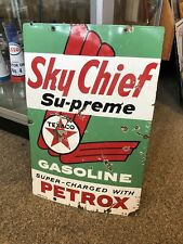 Texaco Sky Chief Petrox Enamel Genuine Pump Sign