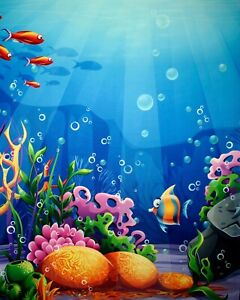 CUSTOM Photography Backdrop UNDER THE SEA on Wrinkle Resistant Fabric 6' x 8'