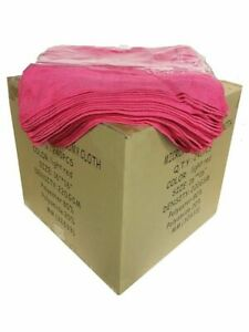 """240 Case 16""""x16"""" Economy Grade Microfiber Cleaning Cloths Auto 220GSM Pink USA"""