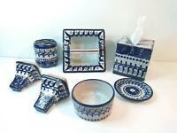 Mexican Art Talavera Pottery Ceramic Bath Set Tile Inserts Towel Tissue Blue