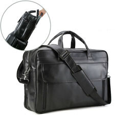 "Men's Leather Large 17"" Laptop Luggage Briefcase Messenger Shoulder Bag Satchel"