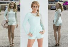 LYDIA ROSE BRIGHT MINT GREEN ASYMMETRIC LACE PLAYSUIT AS SEEN ON TOWIE UK 8 BNWT