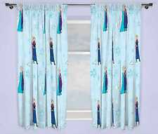 "DISNEY FROZEN 66 X 72"" LIGHTS CURTAINS SET ANNA ELSA GIRLS KIDS BLUE BEDROOM"