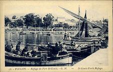 Toulon Frankreich CPA Postkarte ~1920/30 Refuge du Fort St. Louis Hafen Schiffe