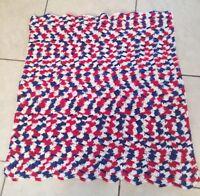"""Vtg Hand Crochet Lap Blanket Red White Blue  Afghan Throw 36"""" x 34"""""""