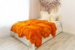 Orange Sheepskin Rug  Merino Type Large Sizes Sheep Skin Sheepskin Throw Teppich