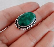 NATURAL BRAZILIAN GREEN EMERALD 925 STERLING SILVER RING SIZE 8 HANDMADE JEWELRY