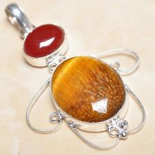 "Handmade Golden Tiger's Eye Gemstone 925 Sterling Silver Pendant 2.75"" #P07956"