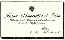 Franz Nemetschke & Sohn Wien KLAVIER-ETABLISSEMENT Historische Annonce 1908