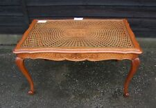 Louis XV Style French Carved Oak/Glass/Bergere Canework Coffee Table - (CON57)