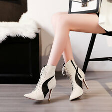 Neu Mode Sexy Stiefel Schnürsenkel High Heels Damenschuhe Schwarz Gr.38-47