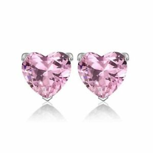 Beautiful New White Gold Filled Pink Heart Shape Crystal CZ Stud Post Earrings