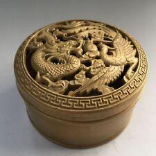 China antique handmade brass dragon & phoenix box Incense Burners statue