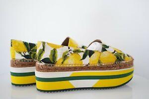 $735 DOLCE & GABBANA woman shoes espadrilles loafers moccasins  Platform Sz 40