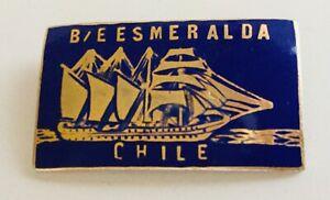 """Vintage 60's  Brass Enamel Tie Hat Lapel Pin """"Buque Escuela Esmeralda Chile"""""""