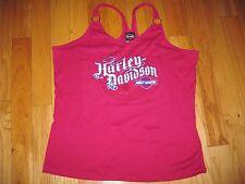NWT Women's HARLEY-DAVIDSON  2X Tank Top / Tee Shirt Racer Back Deep Pink 2X
