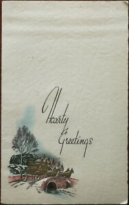 Hearty Greetings Embossed Christmas Card and Photograph Holder 1959