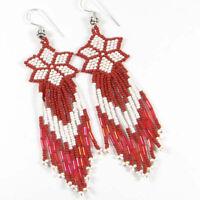 NEW RED WHITE BEADED STAR FLOWER HANDMADE HOOK EARRINGS E15/30