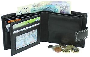 Ashfield Mens Genuine Leather Wallet With Coin Pocket Pouch ID Window 106 Black
