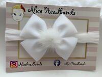 Baby Headbands Girl Soft Stocking Band Bow Wedding White Bow Christening Pom Pom