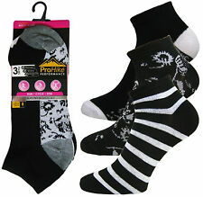 Ladies Multi Purpose Pro Hike Performance Trainer Liner Sport Socks Shoe 4 to 8 2038 Black-grey Stripe & Flower 6 Pairs