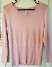 Women's Apostrophe SP Blush Pink Long Sleeve Super Soft Ribbed Hems Knit Top