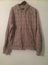 Mens Grey Checked Size Large New Look Hooded Jacket