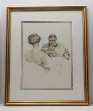 "1900s Harrison FISHER Victorian ""IN SUSPENSE"" Romance Tea, Framed 24""x 20"""