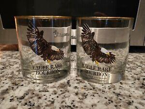 2X Eagle Rare Bourbon Old Fashioned Cocktail Glasses Barware w/ Eagle Design !!!