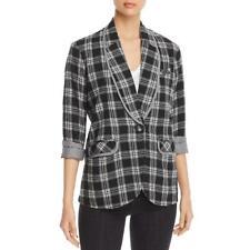 Billy T Womens B/W Plaid Flannel Open Front Blazer XL BHFO 7193