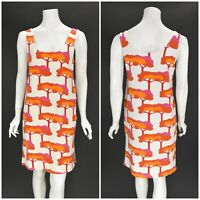 Womens Marimekko White & Orange Cotton Blend Sheath Dress Print Stretch Size M