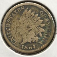 1864 Indian Head Cent 1c One Penny Copper Nickel Circulated #10818