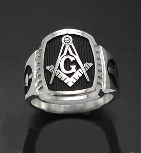 Sterling Silver Masonic Monogramme Anneau Style 010 M