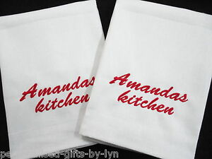 2 Personalised Tea Towels Mr & Mrs, Couples Names or short message