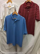 Mens Large Pro Tour Golf Polo Shirt Lot - 1 Red, 1 White, 1 Blue