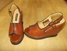 Ladies SACHA Tan Leather Wedge Open Toe Slingback Sandals - Size EU 38