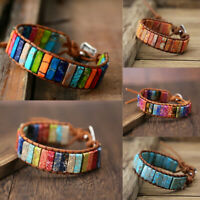 7 Chakra Natural Stone Tube Beads bohemian Multi Color Leather Wrap Bracelet