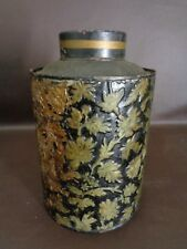 New listing Antique Embossed Black & Gold Tea Canister