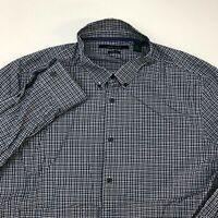 Perry Ellis Button Up Shirt Mens XL Black White Blue Long Sleeve Check Stretch