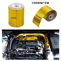 Car Turbo Exhaust Muffler Insulation Heat Shield Wrap Tape Gold 100mmx5m