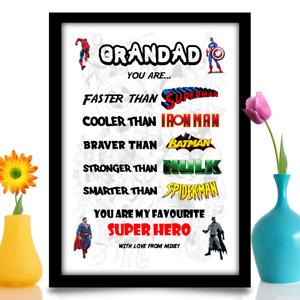 Personalised birthday gift for Grandad Super hero present idea A4 print