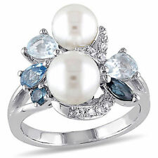 Sterling Silver Freshwater Pearl Topaz and White Sapphire Cocktail Ring 6.5-8 mm