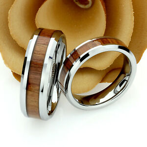 Tungsten Wedding Band Set, 8mm, 6mm, Mahogany Wood Inlay Ring Set For Couple