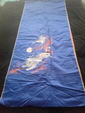 Antique Chinese Embroidered Panel Royal Blue w/ Lion Rabbit Crane