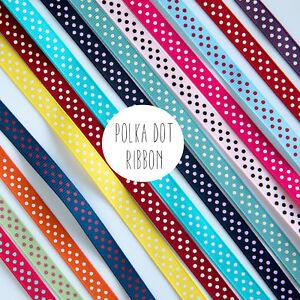 2 Metres - 9mm wide Polka Dot Ribbon