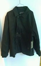 NEW! Mens Large Sportier Nautical Style Poly / Wool blend Peacoat Black Pea Coat