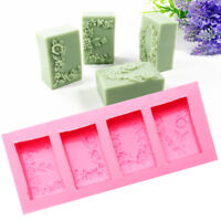 4Pcs/Set DIY Rectangular Flower Flexible Silicone Mold 3D Candle Soap Cake Mould