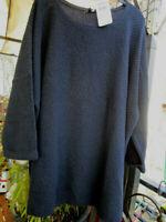 ULLA POPKEN Pullover Boxy-Form Streifenmix Lanagrm mit Raffung dunkelblau NEU
