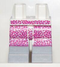 Lego New Minifigure Legs Female Girl White Hips Skirt Pink Dots Boots Pattern