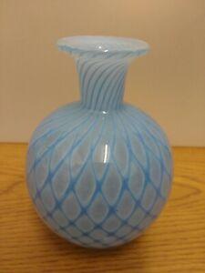 Murano style glass vase with Lattice effect finish in cornflower blue .